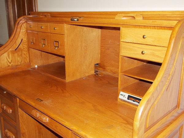 A Solid Oak Roll Top Computer Desk By Quot Winners Only Inc