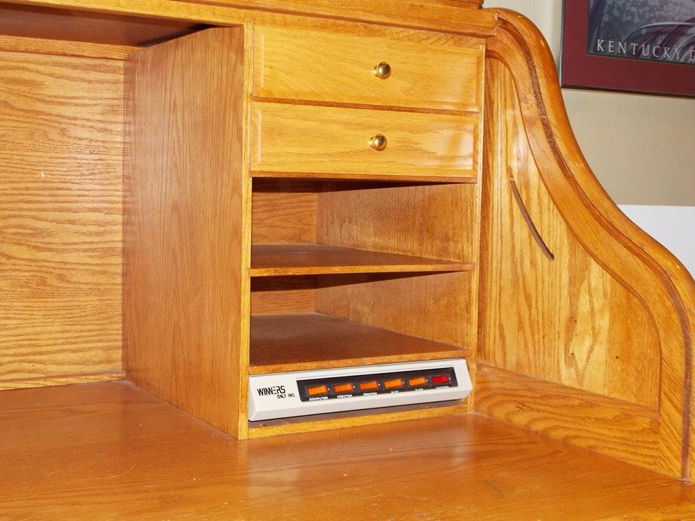 """A Solid Oak Roll Top puter Desk by """"Winners ly Inc"""