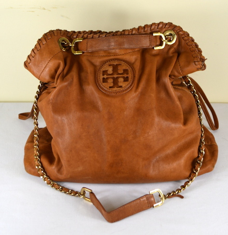 Tory Burch Marion Slouchy Tote Brown Leather Ebth
