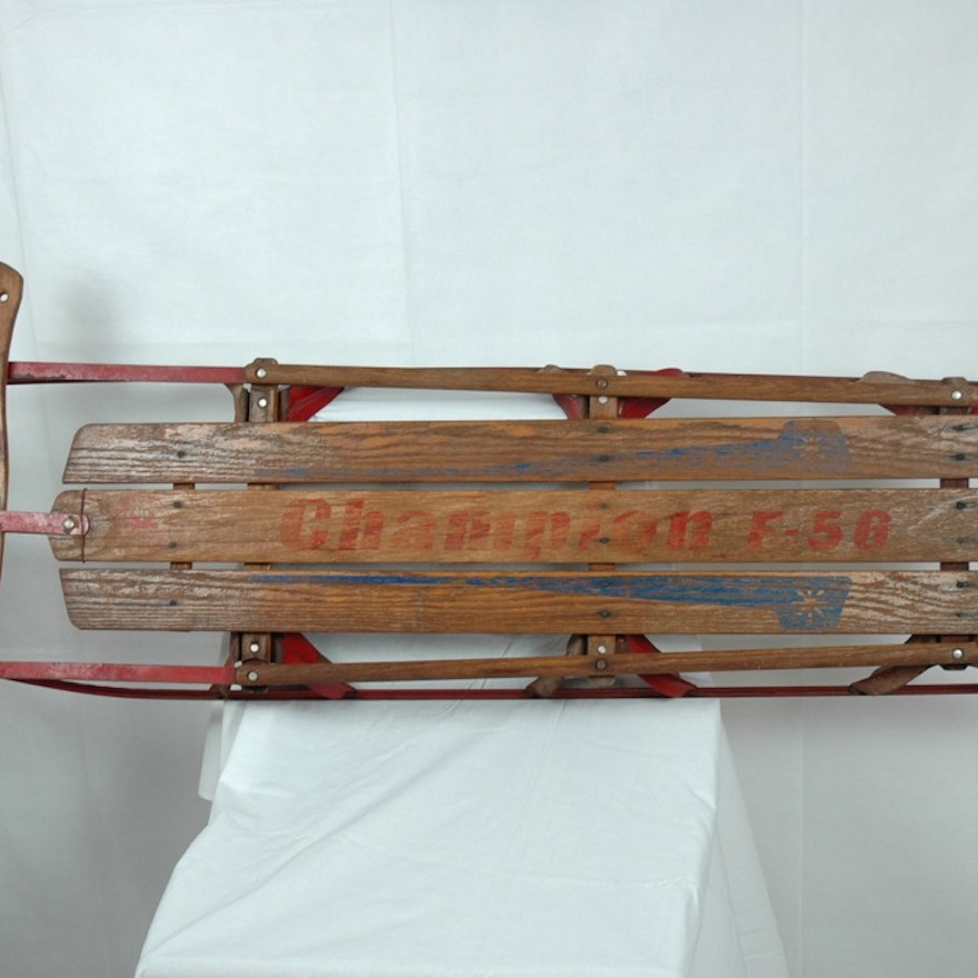 Vintage Champion Wood Sled With Red Metal Runners