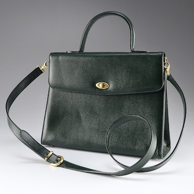 66bbb5d14c90 Vintage Coach Handbag in Forest Green Cowhide Leather  C6E-4414
