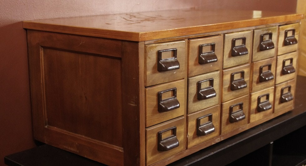 vintage library card file cabinet converted to organizer chest ebth rh ebth com