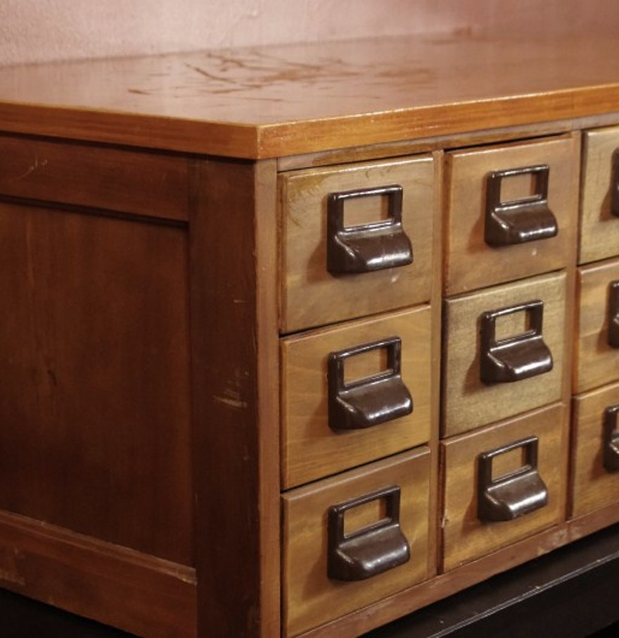 Convert Cabinet To File Drawer Vintage Library Card File Cabinet Converted To Organizer Chest Ebth