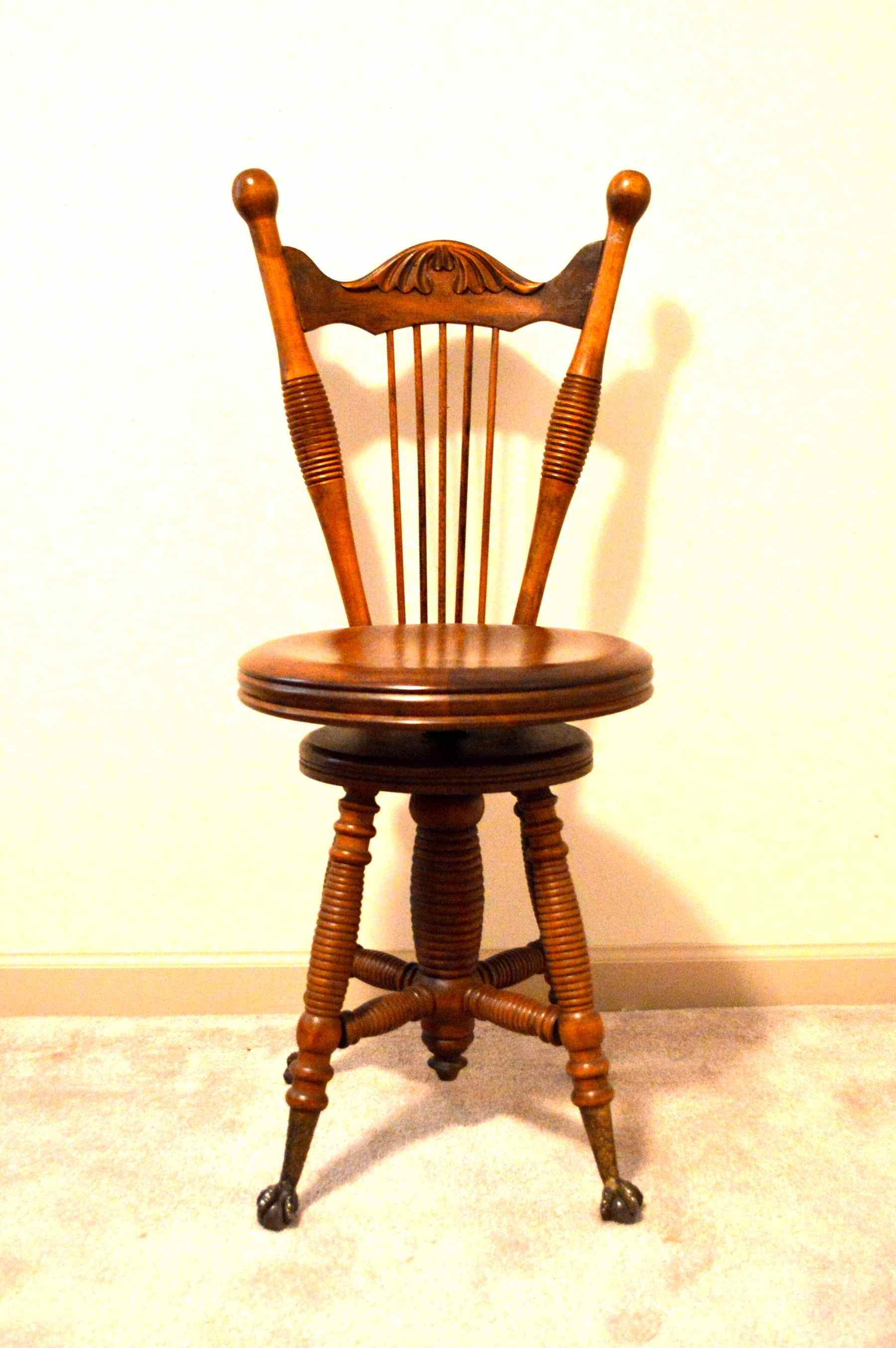 Antique Chair With Swivel Seat And Claw Feet Ebth