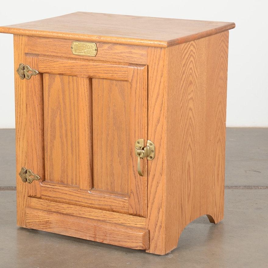 Reproduction Oak Ice Box End Table