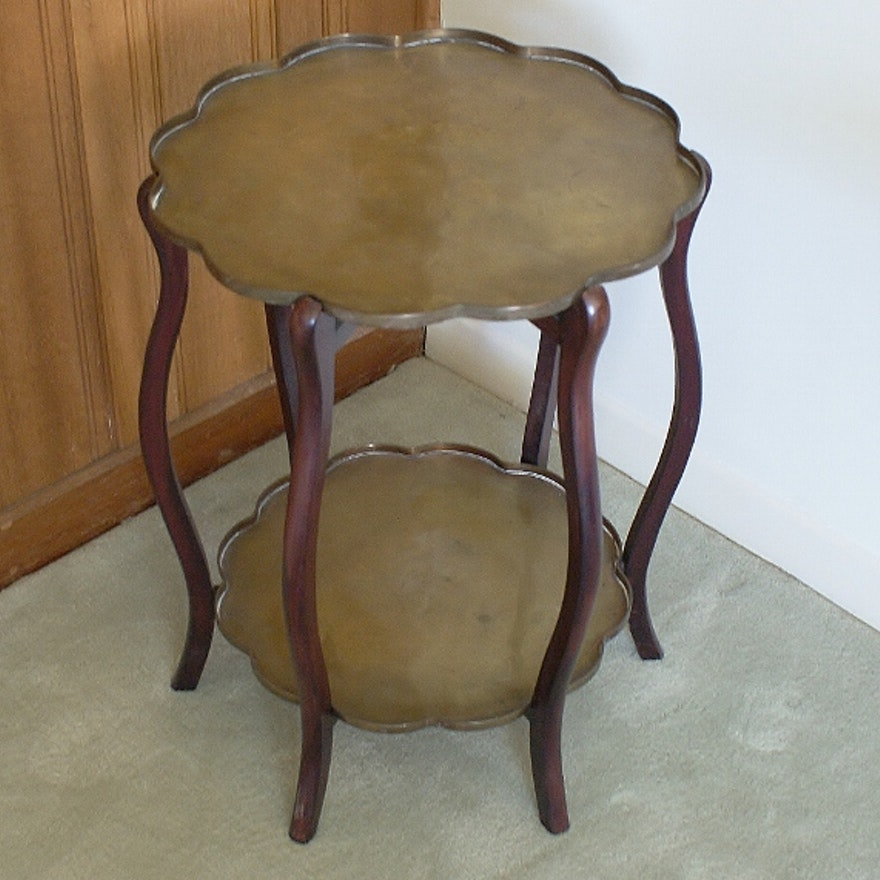 Pier One Imports Mahogany And Brass Side Table