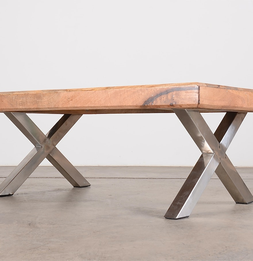 Mango wood butcher block table with chrome supports ebth