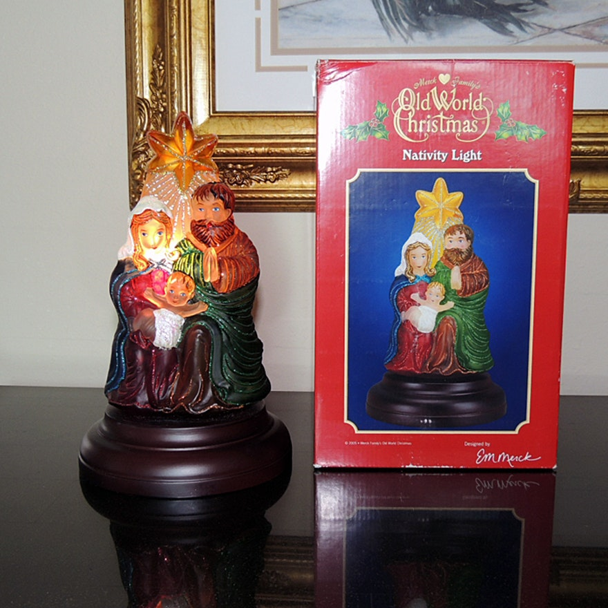 merck family old world christmas nativity light - Merck Family Old World Christmas