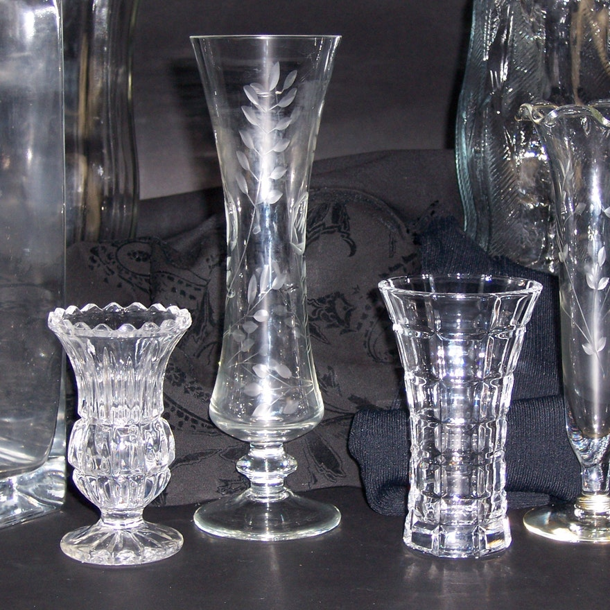 Eight Assorted Glass Vases Ebth