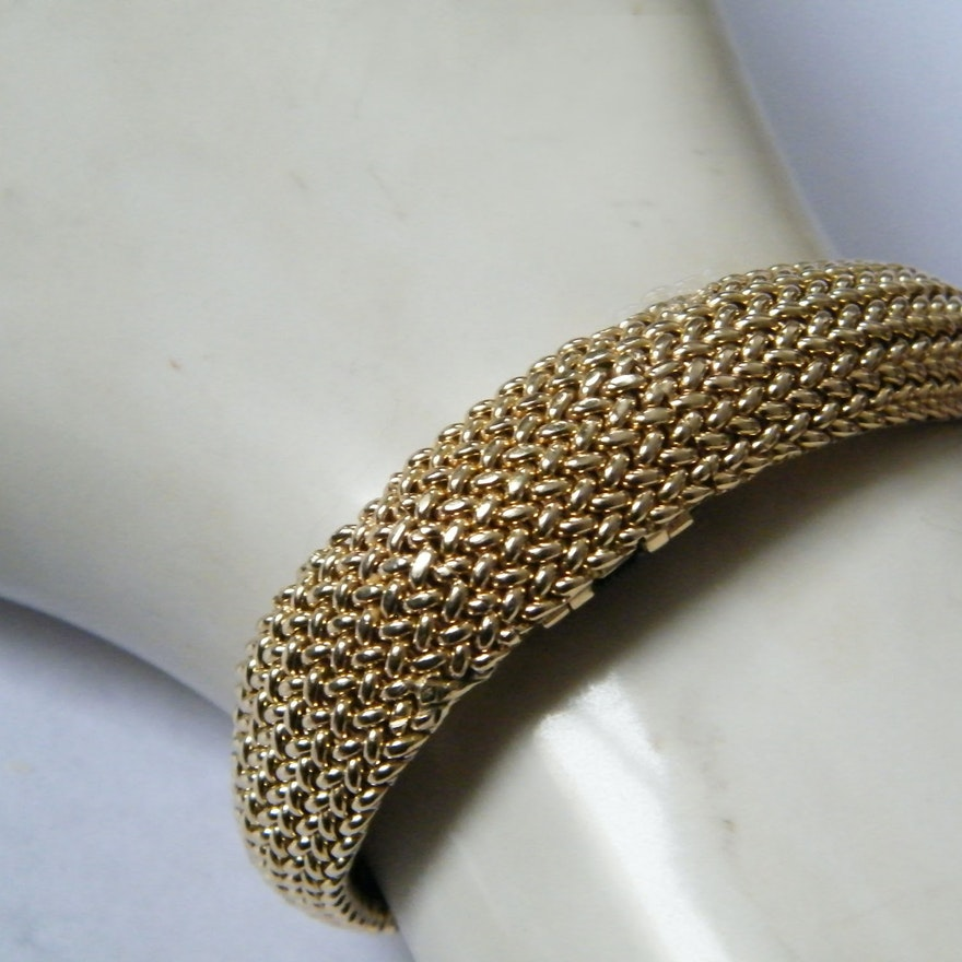 14k Yellow Gold Mesh Bracelet Hidden Watch By Concord