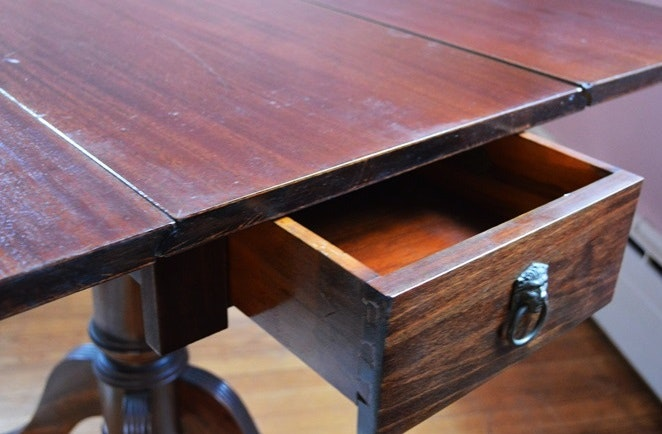 Drop Leaf Table With Brass Claw Feet And Lion Head Drawer