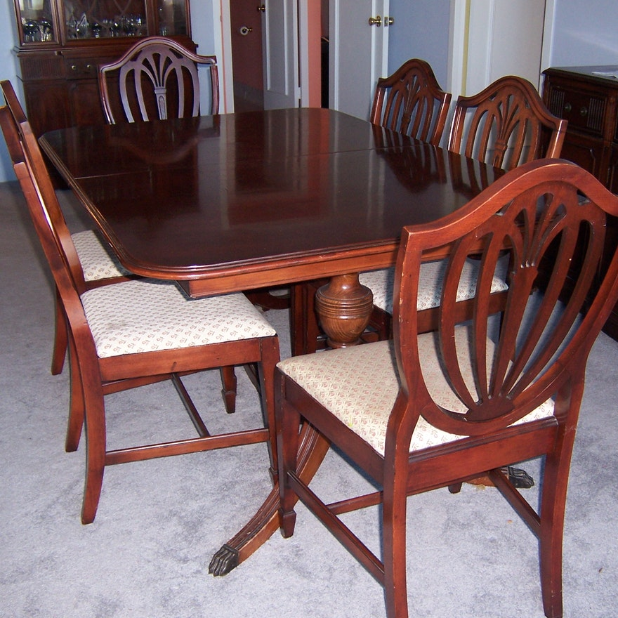 Awe Inspiring Vintage Duncan Phyfe Style Dining Table And Chairs Home Interior And Landscaping Ologienasavecom