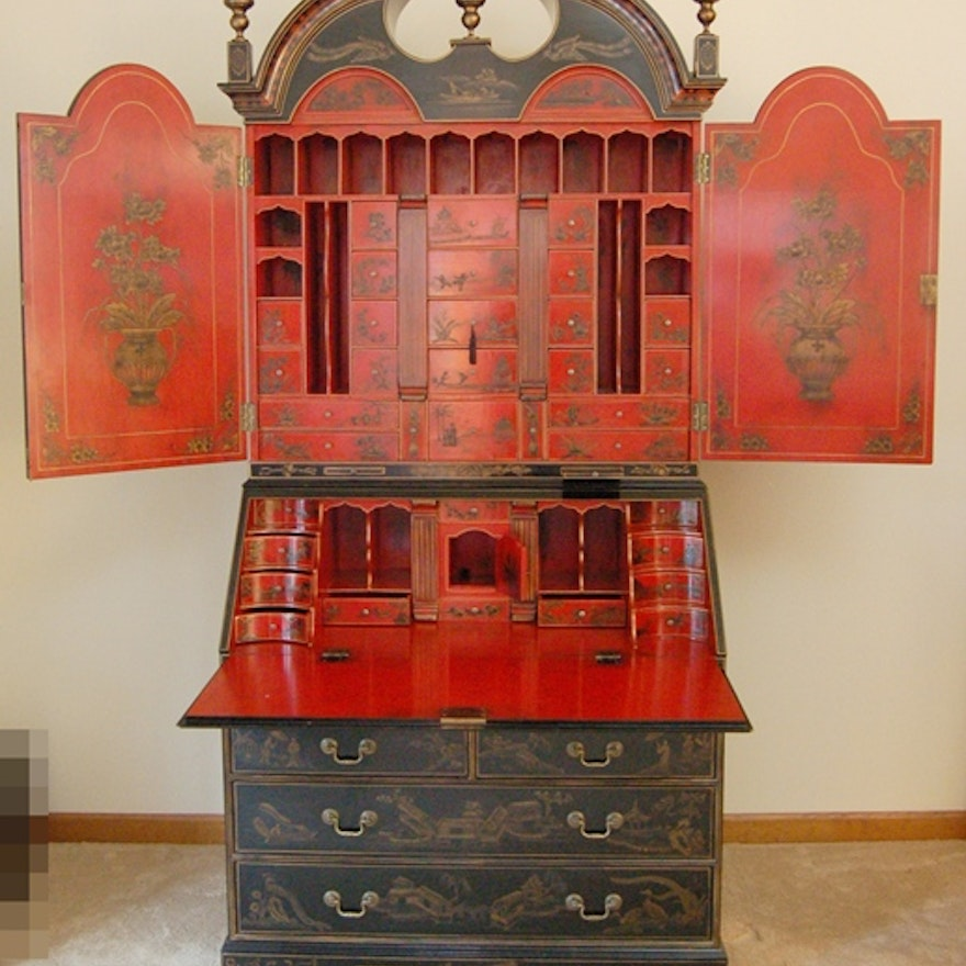 Wondrous Stunning Chinoiserie Red And Black Lacquer Secretary Download Free Architecture Designs Rallybritishbridgeorg