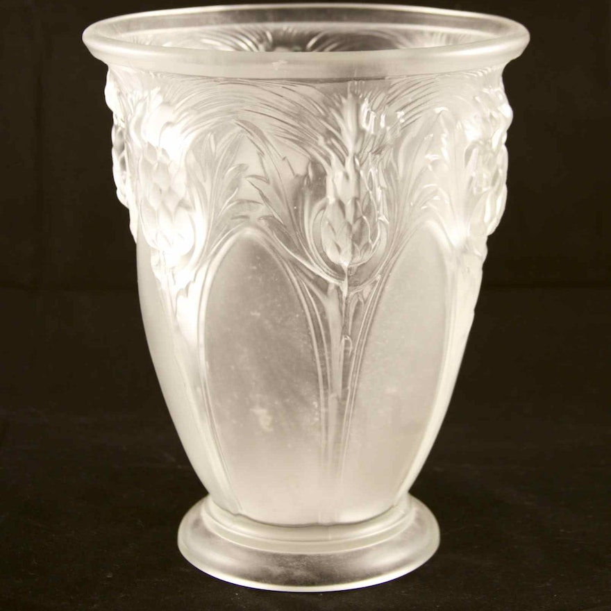 Fenton Satin Crystal Pineapple Vase Ebth