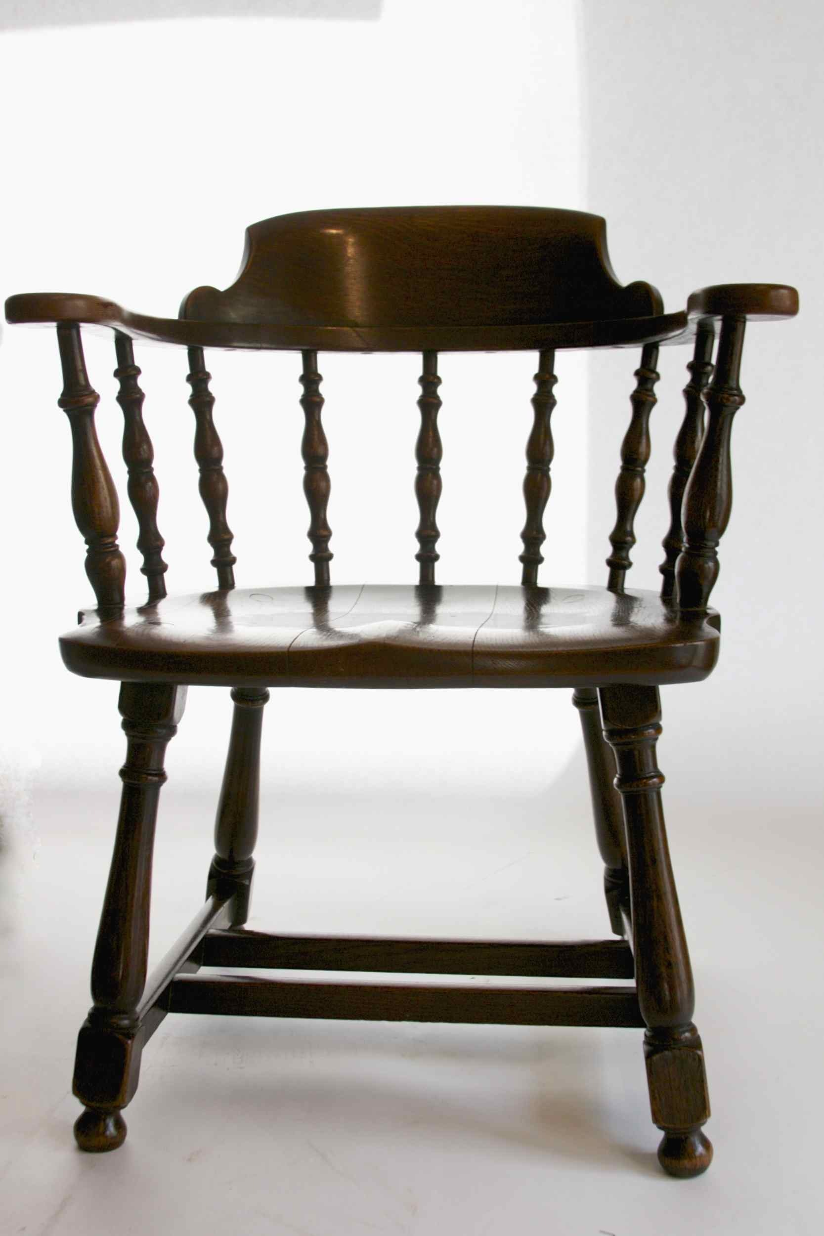 Solid Oak Captainu0027s Chair ...