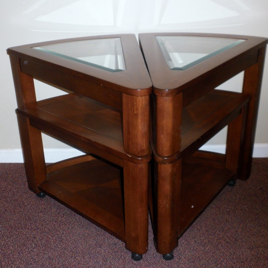 Pair Of Wedge Shaped End Tables Ebth
