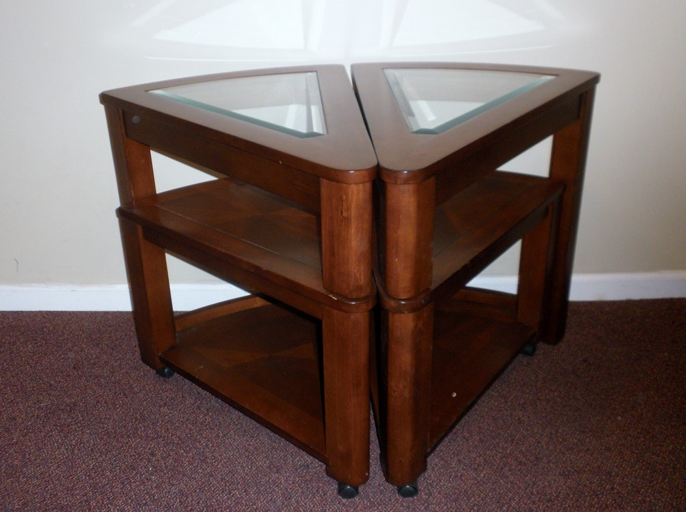 Lovely Pair Of Wedge Shaped End Tables ...