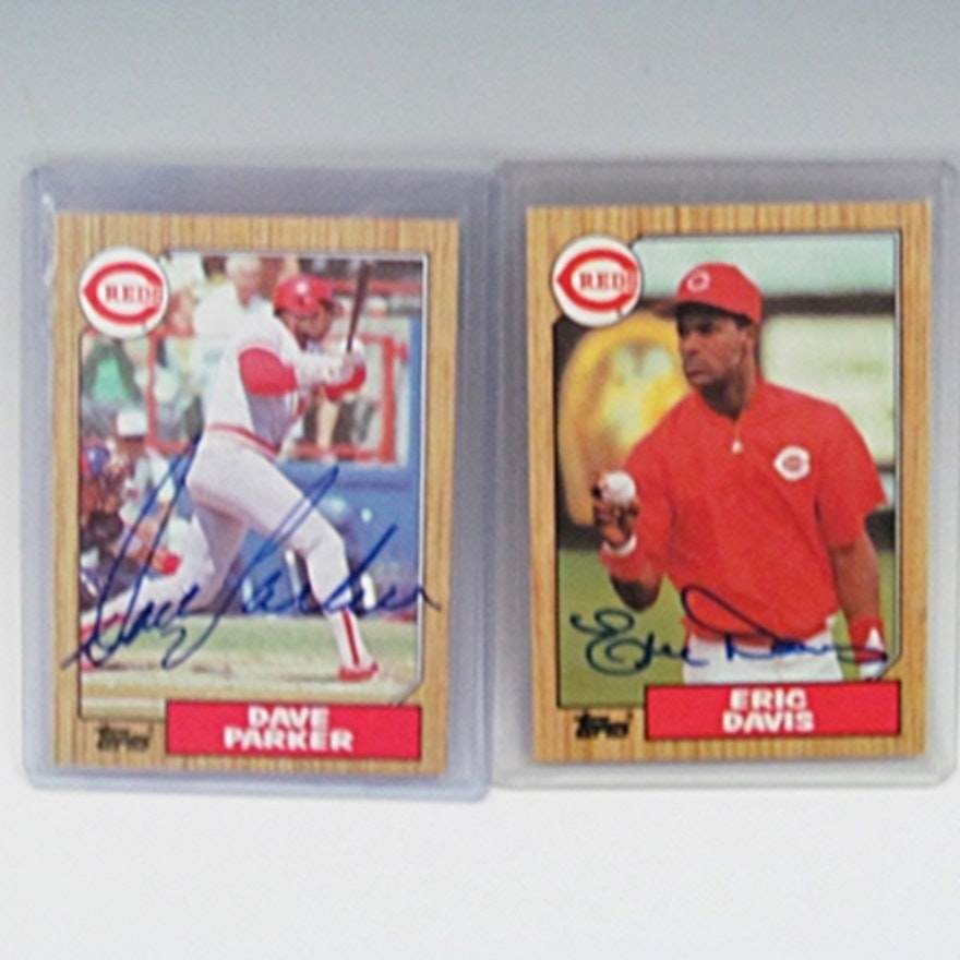Autographed Eric Davis And Dave Parker Baseball Cards