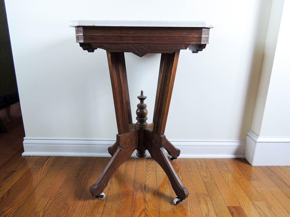 Small Marble Top Oak Eastlake Parlor Table