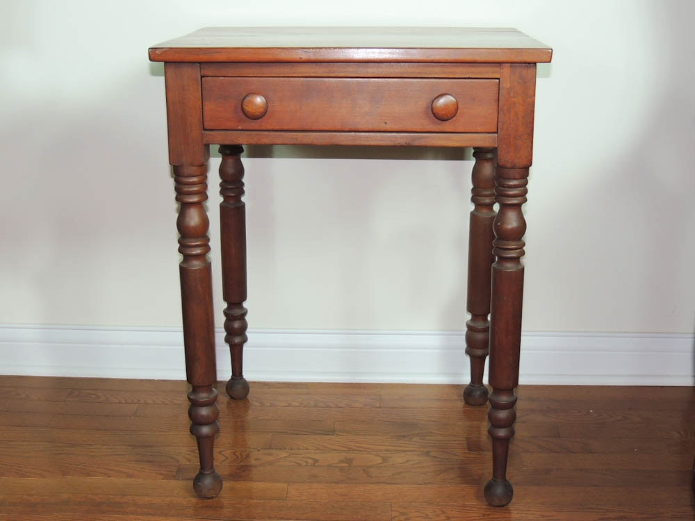 Great Vintage Handmade Small Maple Table With Single Drawer