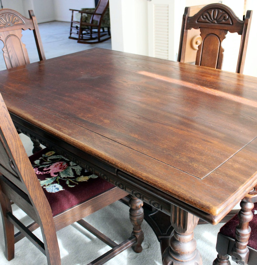 Tudor Style Wood Carved Dining Room Table Amp Chairs Ebth