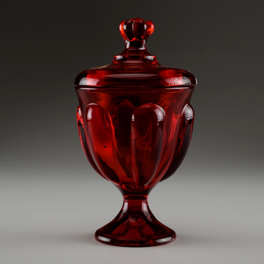 Vintage Viking Handmade Lidded Candy Dish In Ruby Red Ebth