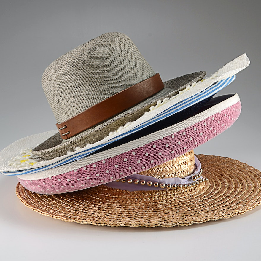 3ee68660789 Collection of (5) Vintage Straw and Cellophane Hats Including a Fred Hasson  ...