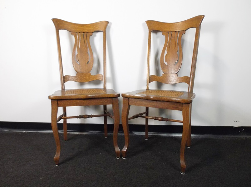 Pair of Lyre Back Cane Seat Chairs : EBTH