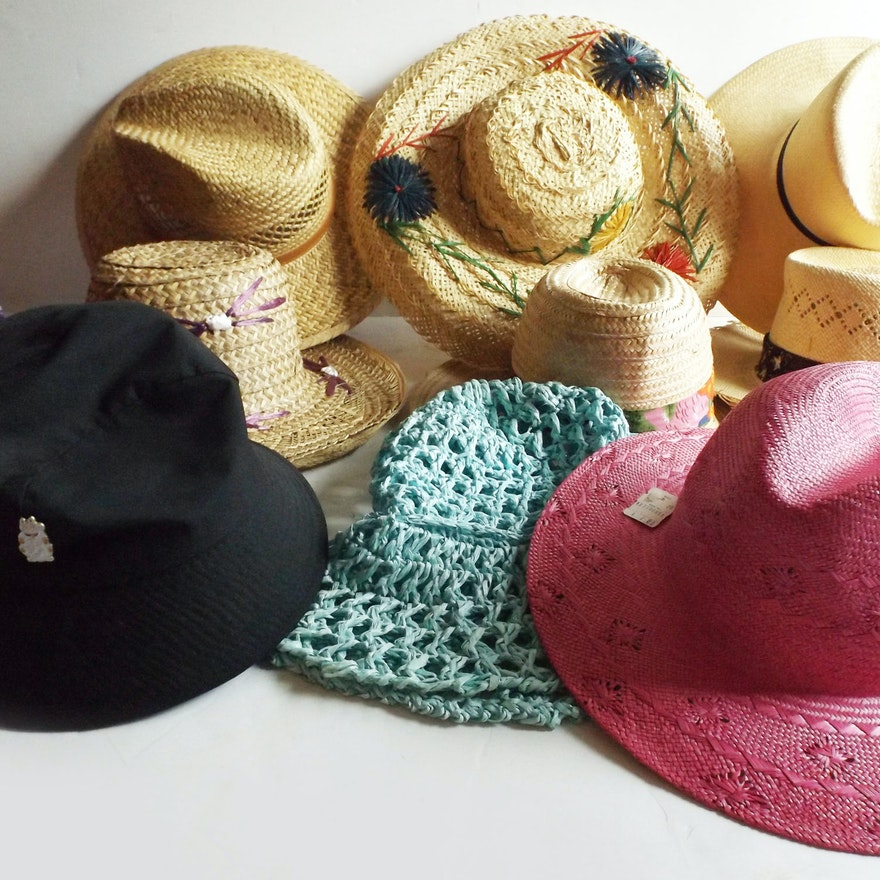 f60942f22c5 Vintage Resort Wear Straw and Cotton Hats   EBTH