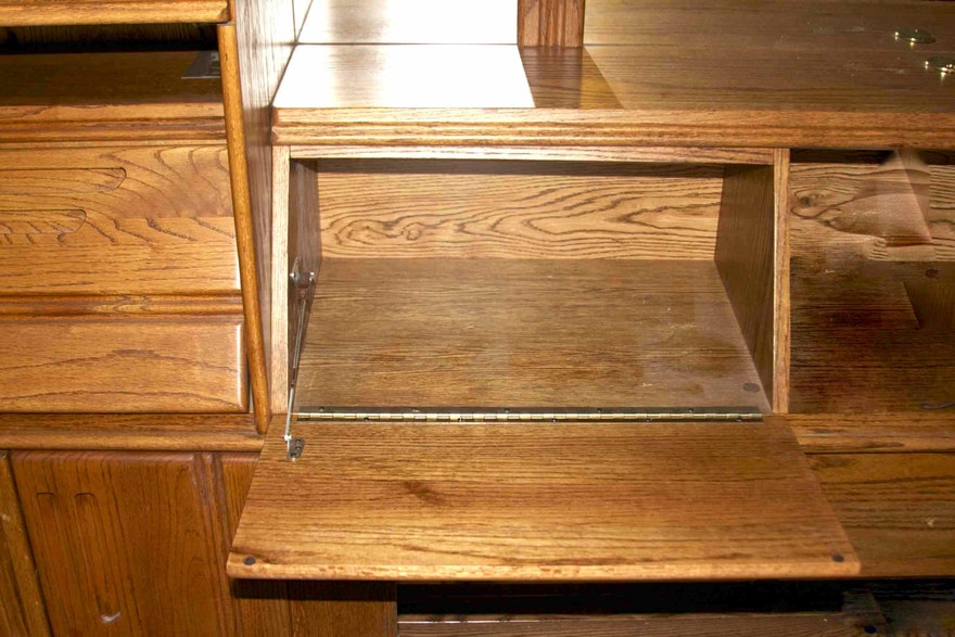 Large Oak Unit With Cabinets Headboard Mirror And