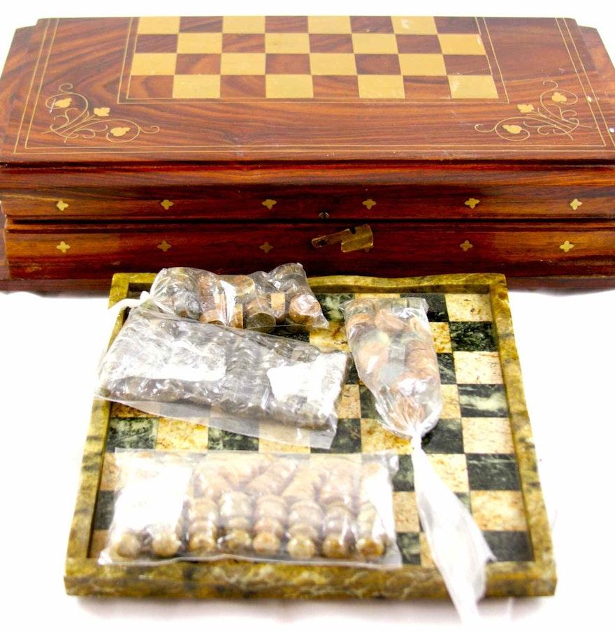 Granite and wooden chess backgammon sets ebth - Granite chess set ...