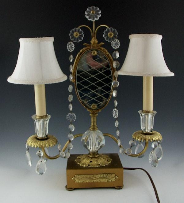 French Double Girandole Boudoir Lamp With Mirror Ebth