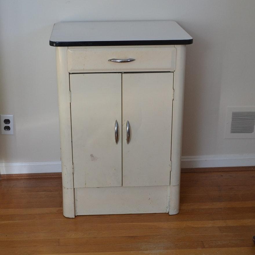 Vintage Metal Cabinet with Porcelain Top : EBTH