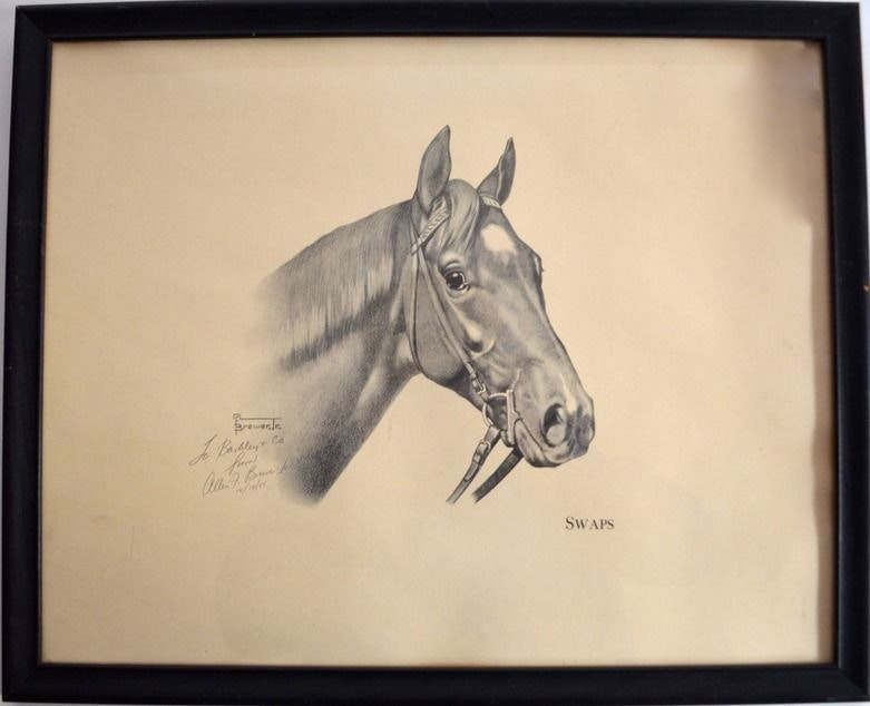 """Allen F. Brewer Jr. Print """"Swaps"""" Signed and Dated 1955"""