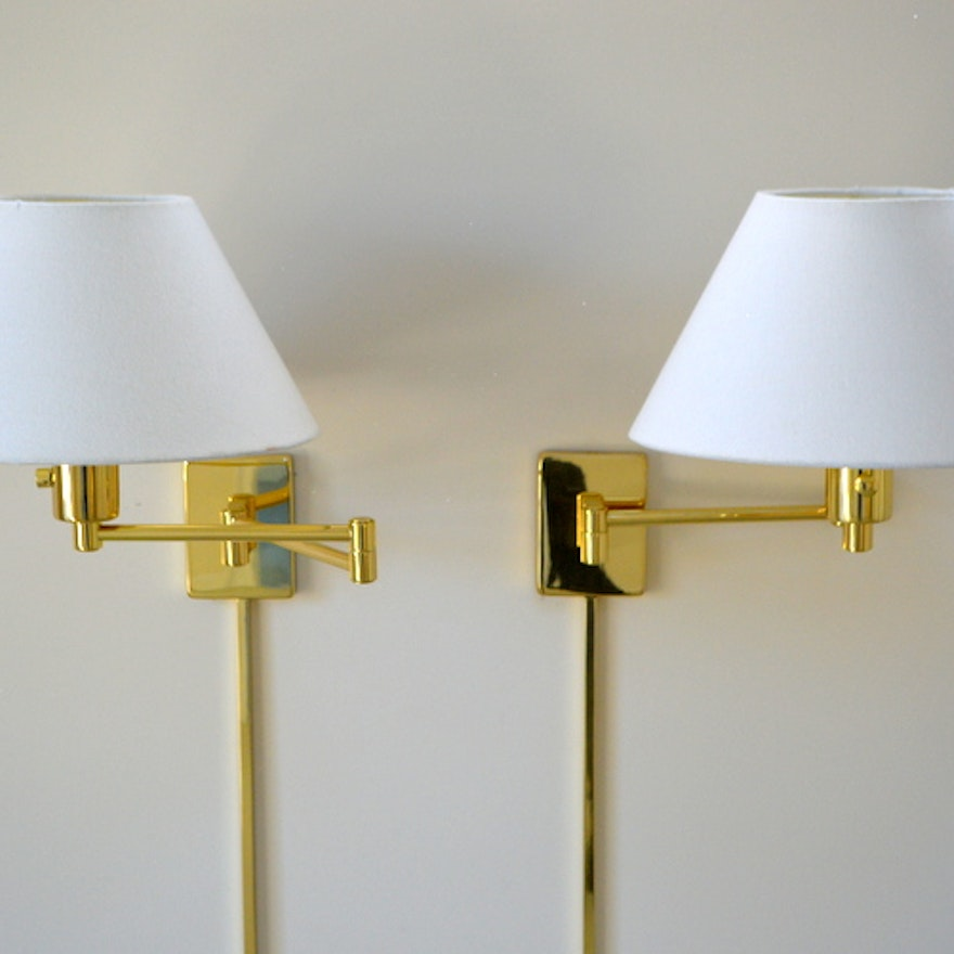 Pair Of Br Swing Arm Wall Lamps By Hinson Lighting