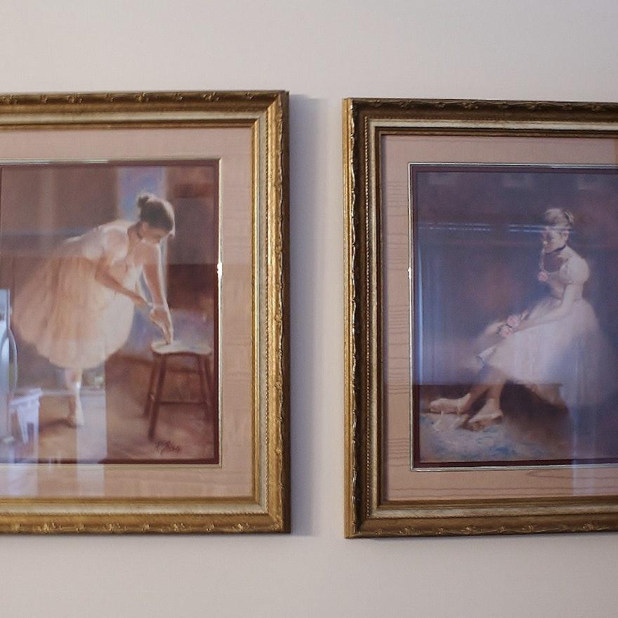 Pair of Tolan Framed Ballerina Prints : EBTH