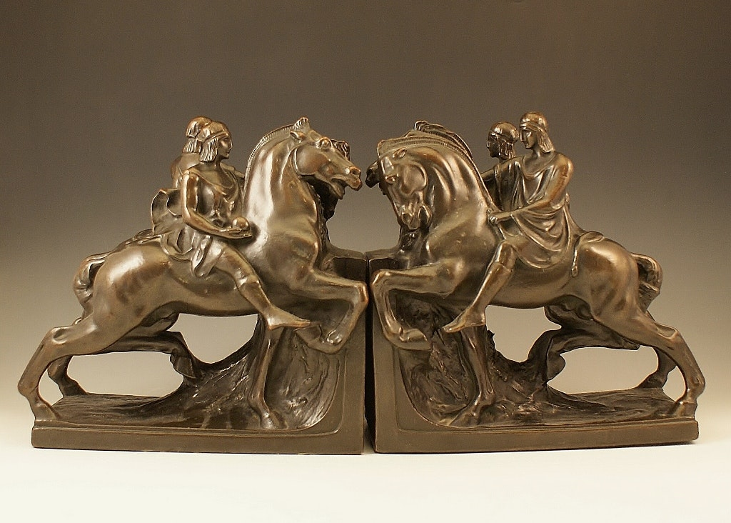 "Pompeian Bronze Homer's ""Iliad"" Book Ends"
