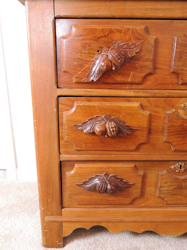 Antique Victorian Drop Center Wood Dresser With Carved