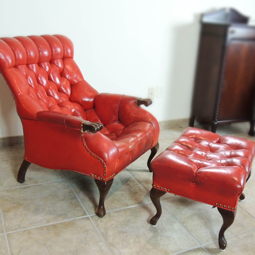 ebc0e701e4866 Carl Forslund Vintage Red Leather Button Tufted Chair and Ottoman   EBTH