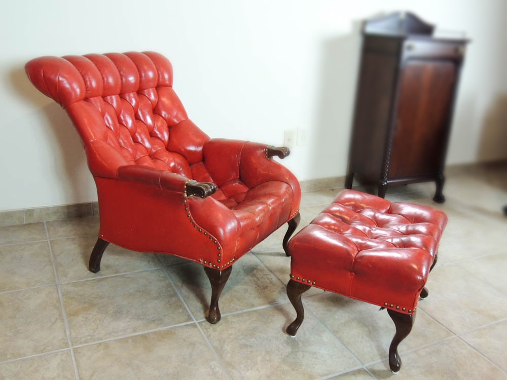 Carl Forslund Vintage Red Leather Button Tufted Chair And Ottoman ...