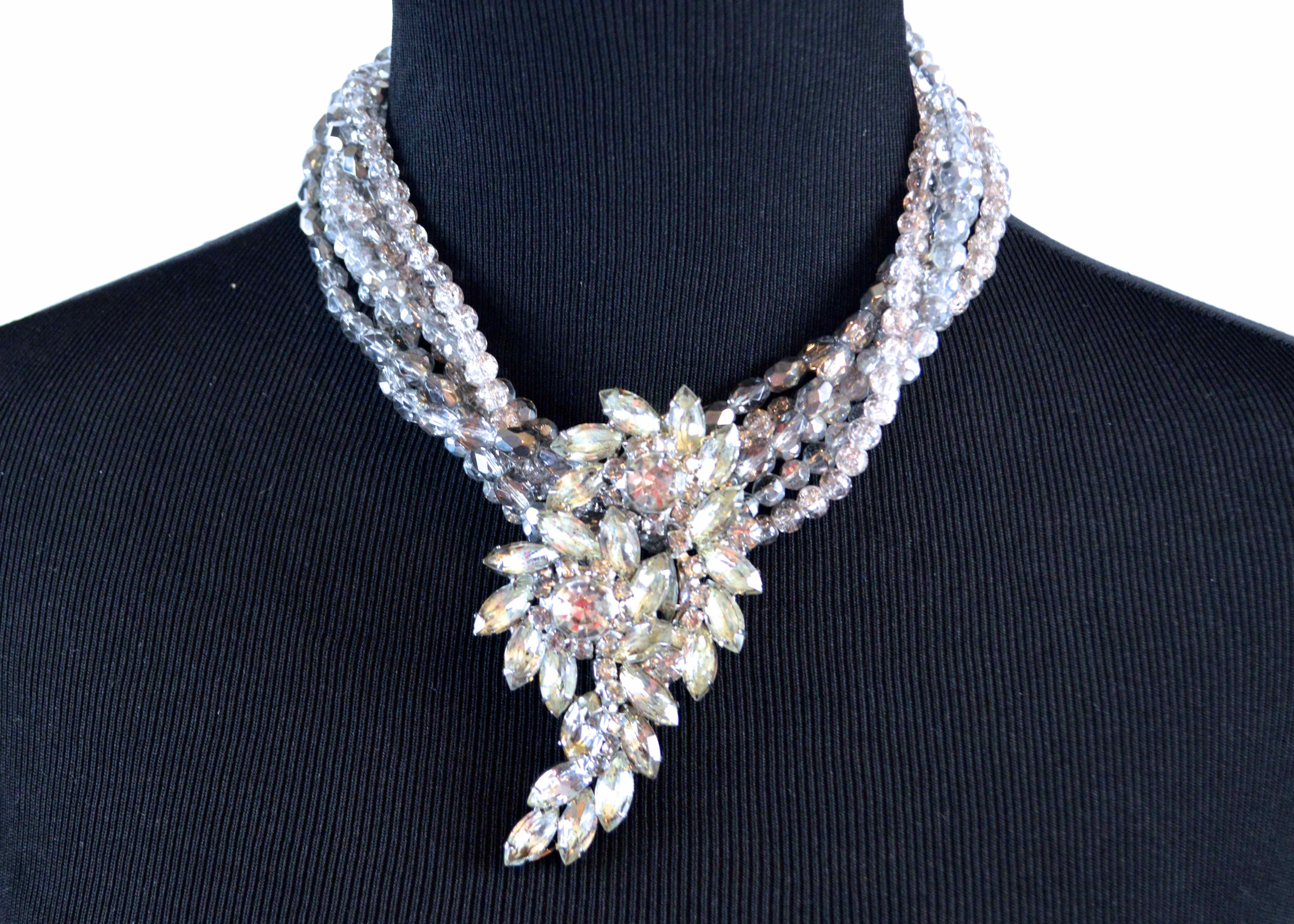 """""""Handrecrafted"""" Crystal and Rhinestone Necklace"""