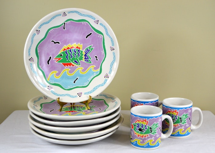 Judith Geiger for Chaleur Abstract FISH Dinnerware 1987 ...  sc 1 st  EBTH.com & Judith Geiger for Chaleur Abstract FISH Dinnerware 1987 : EBTH