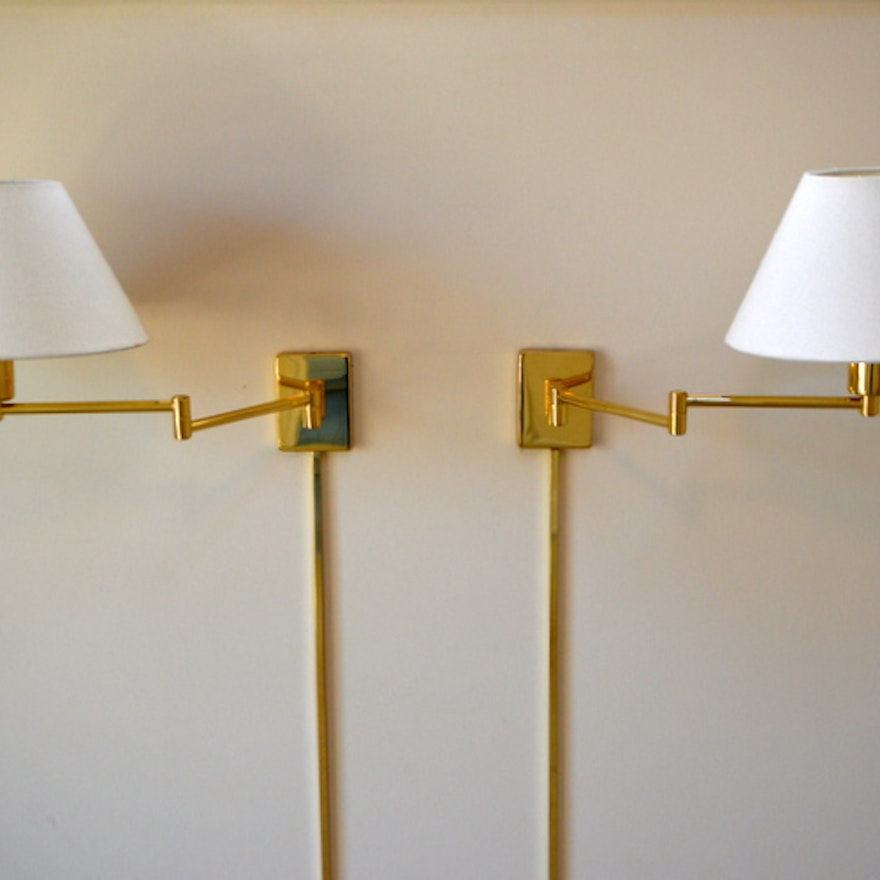 Pair Of Br Swing Arm Wall Lamps By