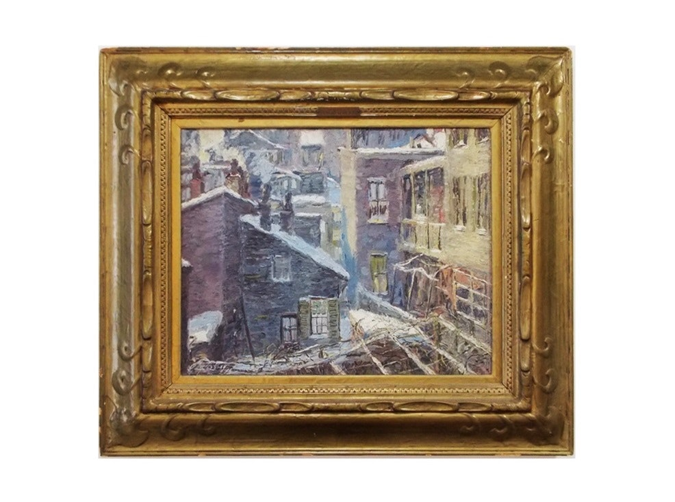 """An Exceptional ET Hurley Painting in the Original Frame Titled """"An Old Quilt"""""""