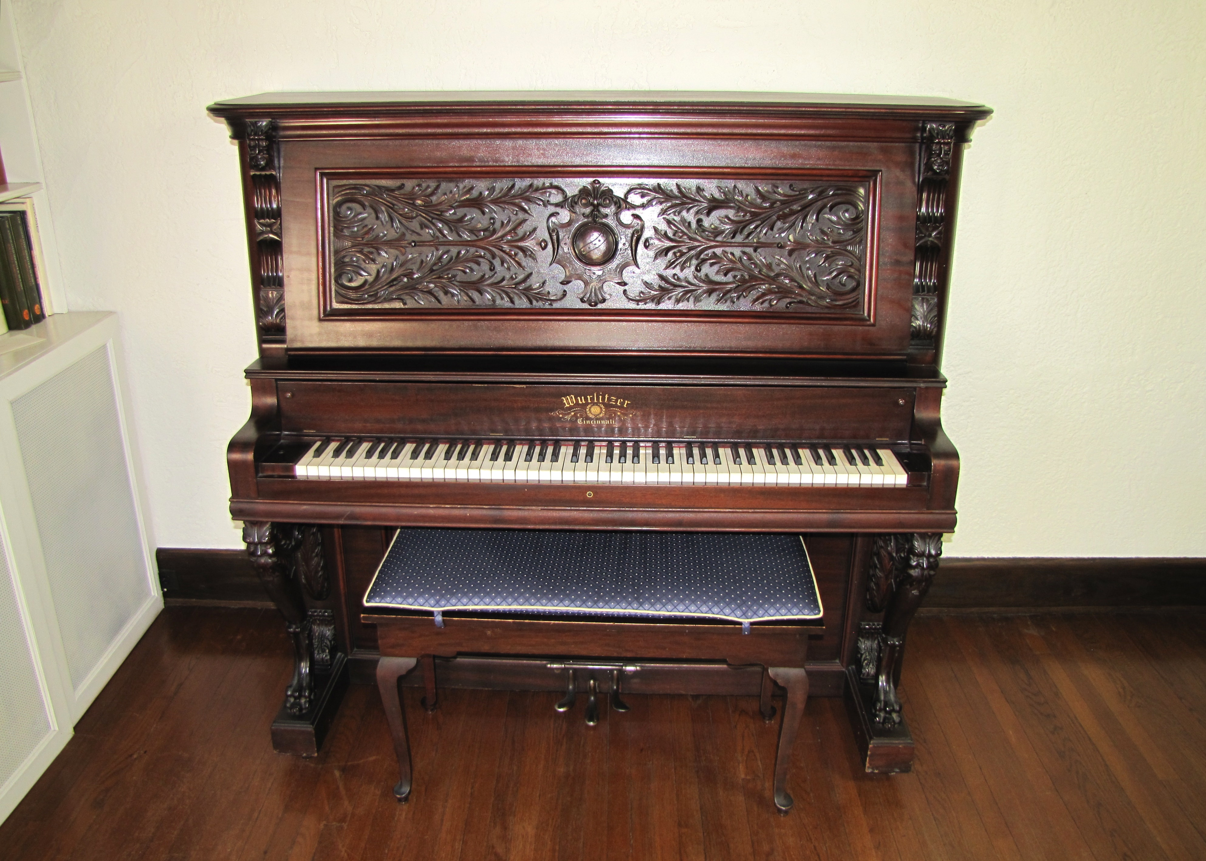 Victorian Wurlitzer Highly Carved Upright Piano