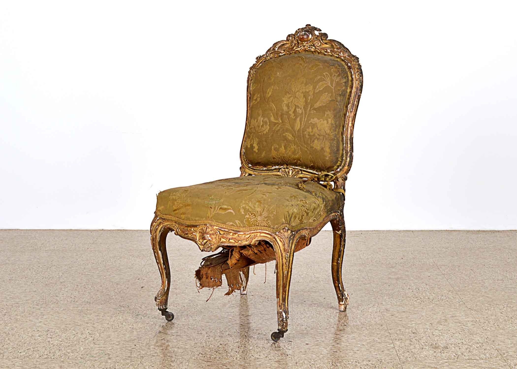 Ornate Period Louis XV Giltwood Side Chair
