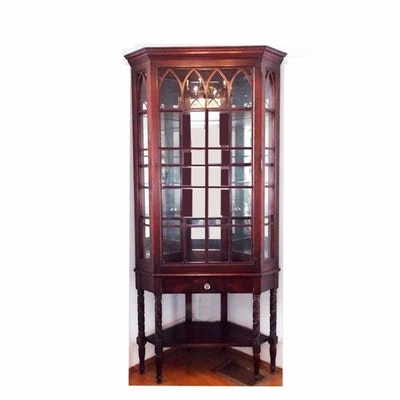 A Vintage China Corner Cabinet with Carving at the Legs and Gothic Inspired  Door - Vintage And Antique Cabinets Auction In Mount Auburn, Ohio Personal