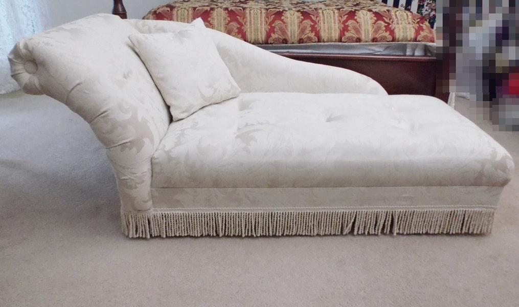 White Brocade Chaise Longue