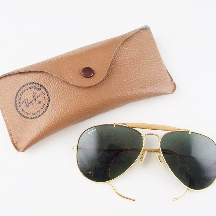 ea2e7c7718 Vintage Bausch   Lomb Ray Ban 12k Gold Filled Aviator Sunglasses in Case    EBTH