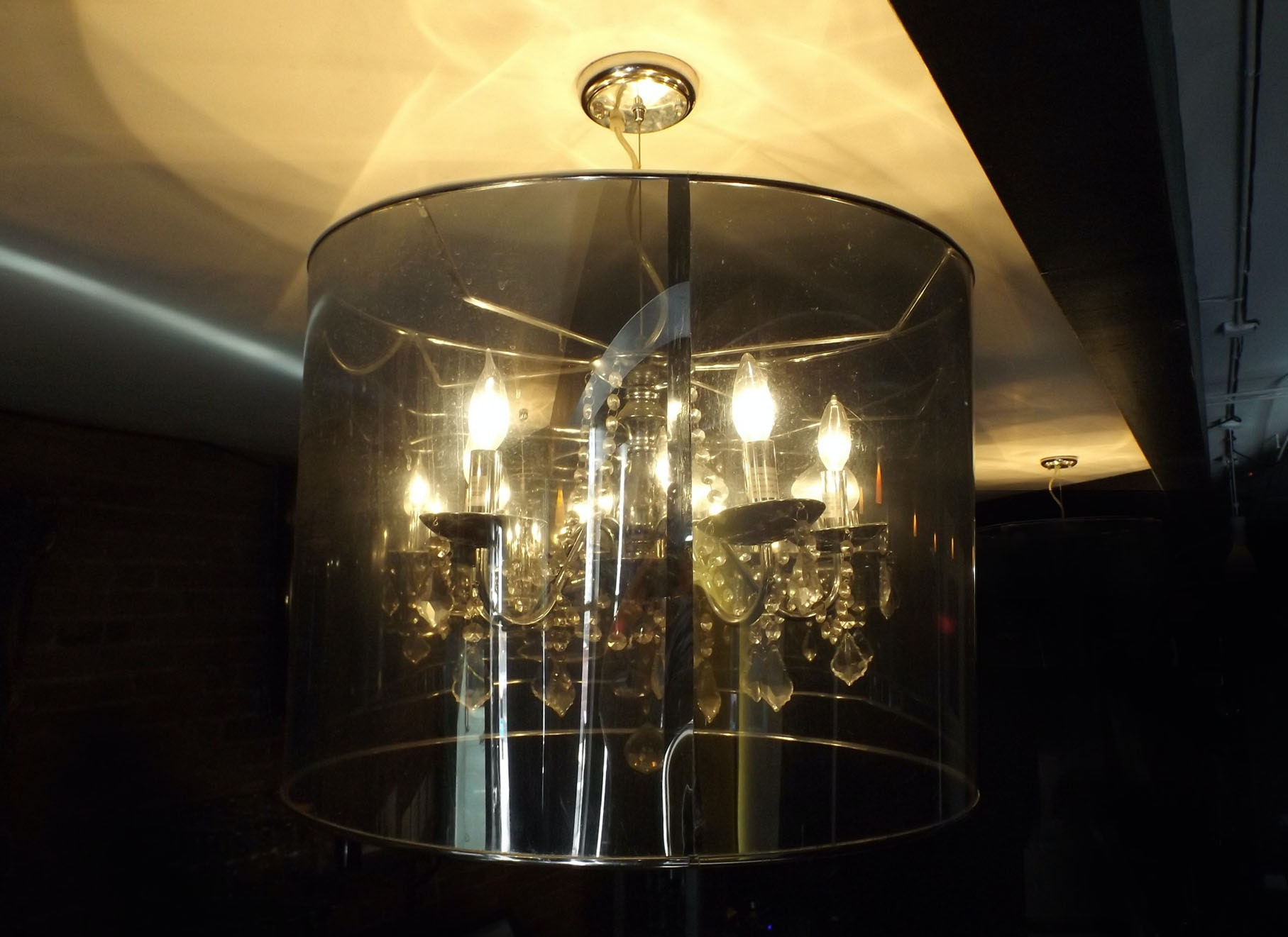 Chic Crystal and Chrome Chandelier with Acrylic Drum